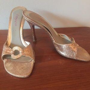 Stuart Weitzman Gold Glitter Sahara Hoop Heels